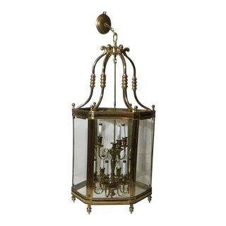 Large Brass Hanging Chandelier with Glass Panes in a Lantern Style For Sale