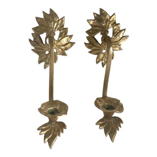Hollywood Regency Brass Candle Sconces - a Pair For Sale