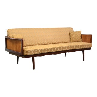 Peter Hdvit Teak & Cane Sofa Daybed For Sale