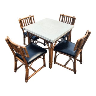 Ficks Reed Rattan Flip Top Extension Dining Set - 5 Pieces For Sale