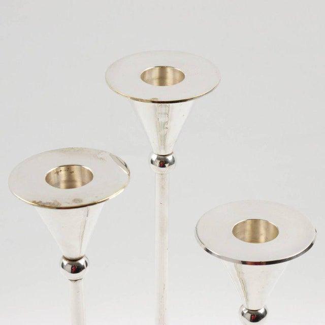 Italian Mid-Century Modern Silver Plate Candlesticks - Set of 3 - Image 5 of 7
