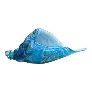 Vintage Blue Murano Glass Seashell