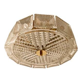 Orrefors Swedish Crystal 1950s Flush Ceiling Hanging Amid Century Pendant For Sale