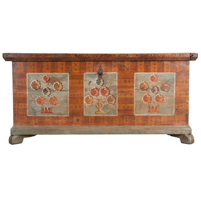 19th Century Alsatian Painted Trunk For Sale - Image 9 of 9