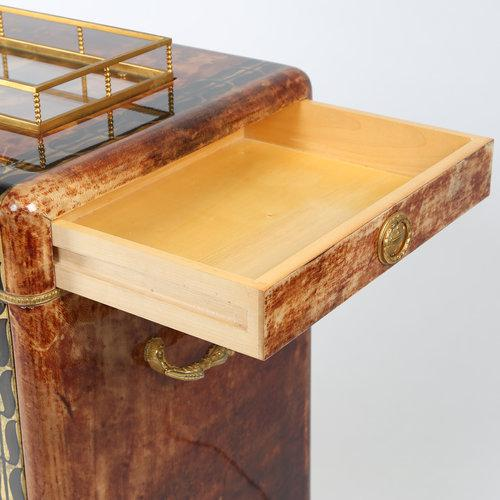 1950S ALDO TURA GOATSKIN BAR CABINET WITH SERVING TRAY For Sale - Image 9 of 10