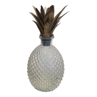 Pineapple Decanter Glass & Metal For Sale