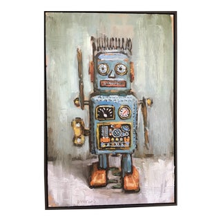 Bradford Solomon Oil on Canvas Vintage Curly the Robot Framed Contemporary Large Still Life For Sale
