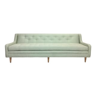 Restored Light Mint Green Mid Century Modern Sofa