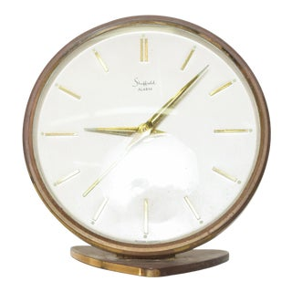 1960s Sheffield Vintage Brass Alarm Table Clock from Western Germany For Sale