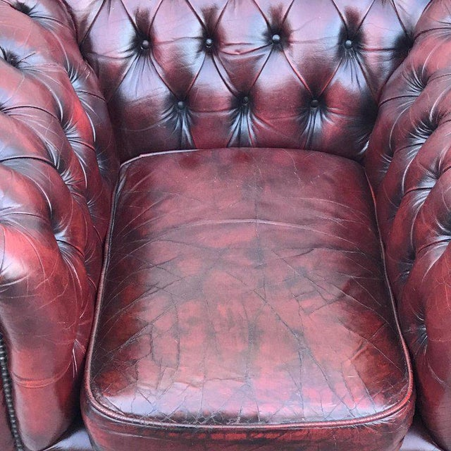 Red Pair of English Red Leather Chesterfield Club Chairs With Faux Bamboo Detail For Sale - Image 8 of 13