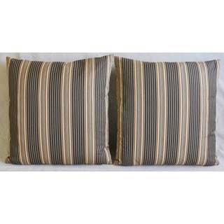 """French Striped Ticking Feather/Down Pillows 24"""" Square - Pair Preview"""