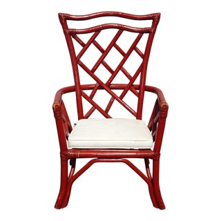 1970s Chinese Chippendale Design Rattan Accent Arm Chair With White Cushion For Sale