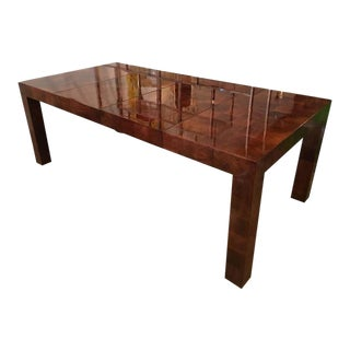 Milo Baughman Burl Wood Parsons Patchwork Dining Table