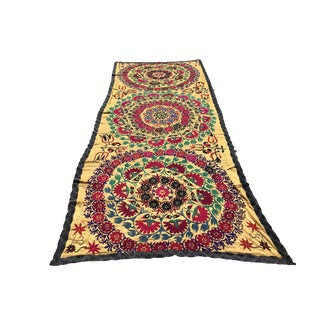 Handmade Suzani Large Silk Tablecloth Tapestry For Sale