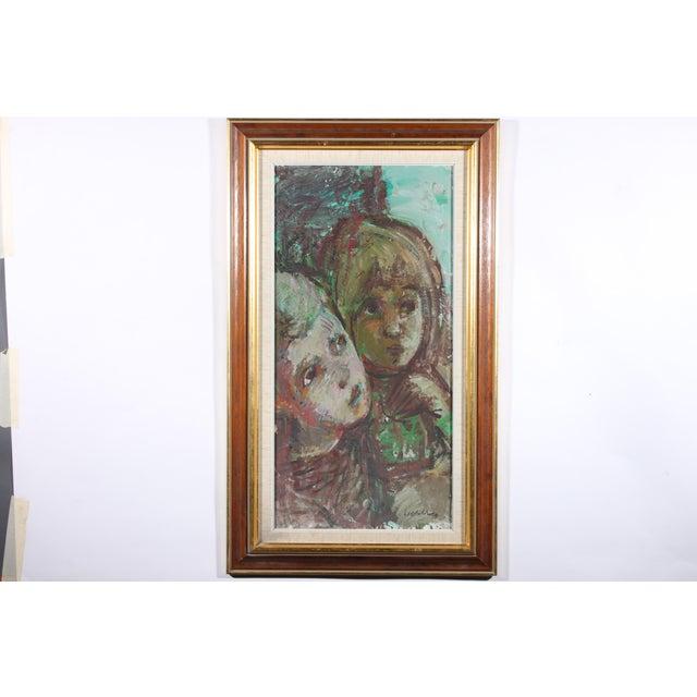 """Bertil Wahlberg """"Siblings"""" Oil on Canvas Painting - Image 2 of 3"""