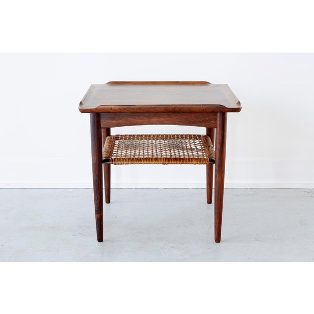 Rosewood and Cane Side Table by Poul Jensen for Selig - Image 2 of 9