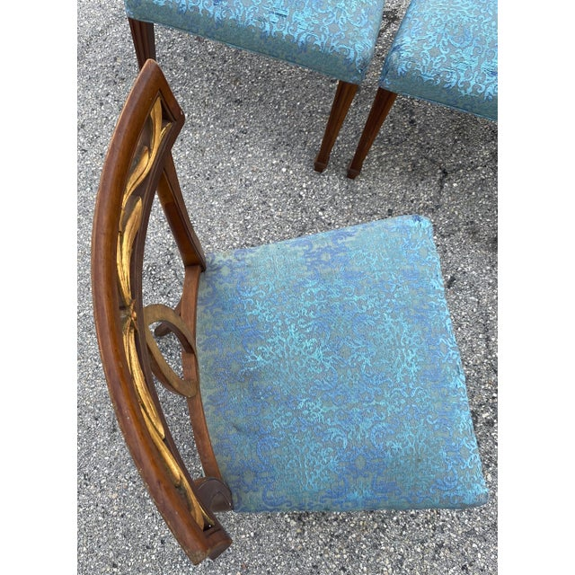 Late 20th Century Baker Furniture Curved Italian Gold Leaf Regency Dining Chairs, Set of Six For Sale In West Palm - Image 6 of 13