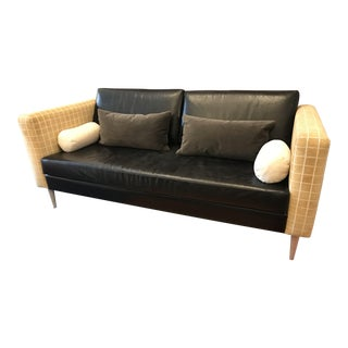 Mid Century Velvet and Leather Gold Couch