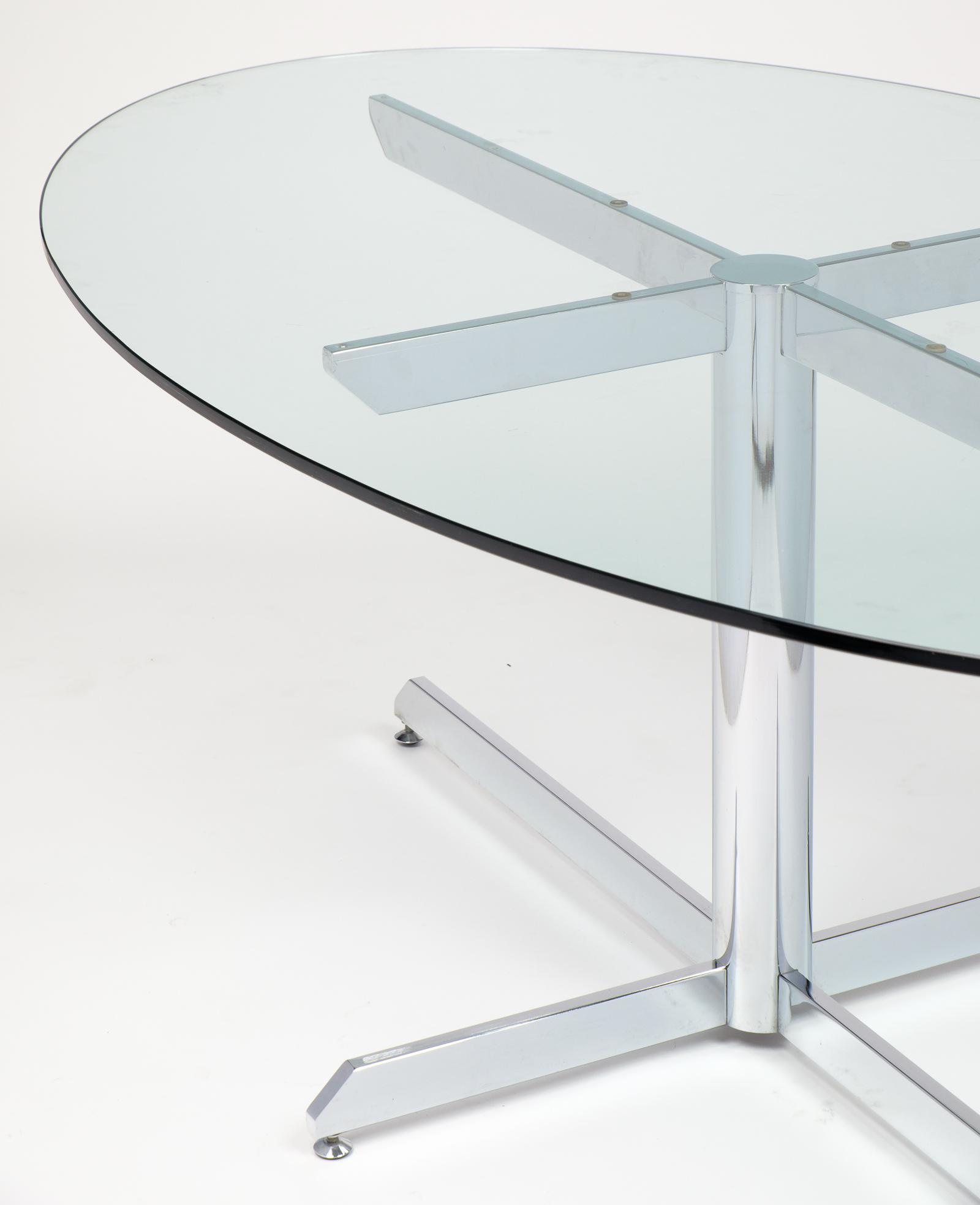 Knoll Style Oval Glass Chrome Dining Table   Image 8 Of 10