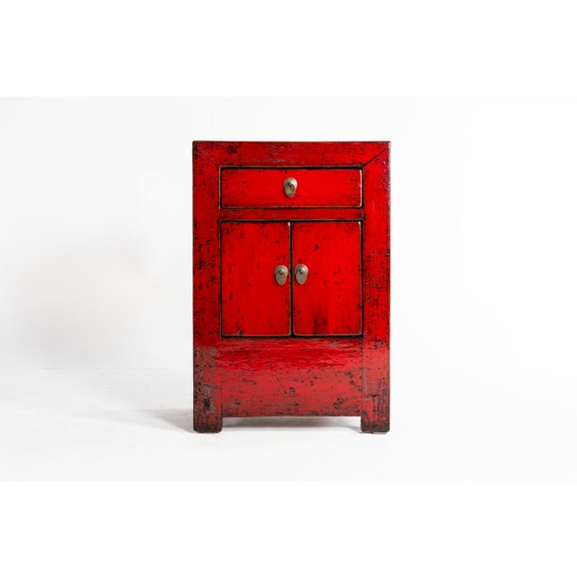 Chinese Red Lacquer Cabinet With a Drawer and Pair of Doors For Sale In Chicago - Image 6 of 11