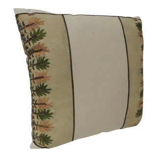 Turkish Embroidered Linen Square Decorative Pillow For Sale