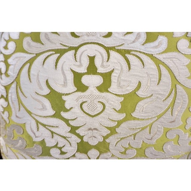 2010s Contemporary French Green and Ivory White Damask Velvet Throw Pillows - a Pair For Sale - Image 5 of 11
