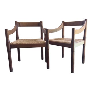 """1960s Boho Chic Vico Magistretti for Cassina """"Carimate"""" Chairs - a Pair For Sale"""