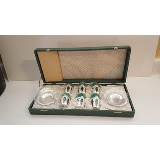 """""""Ms"""" Japanese Vintage Silver Bronze 13 Piece Drinking Cups & Saucers - Set of 6 Preview"""