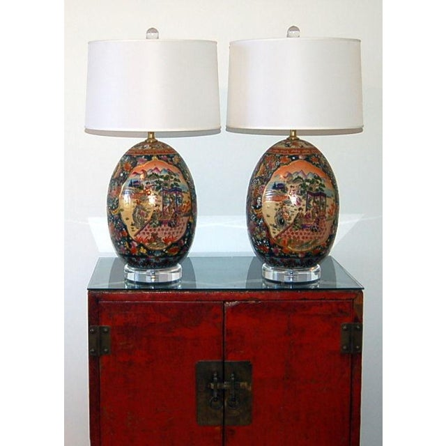 White Vintage Satsuma Table Lamps For Sale - Image 8 of 9