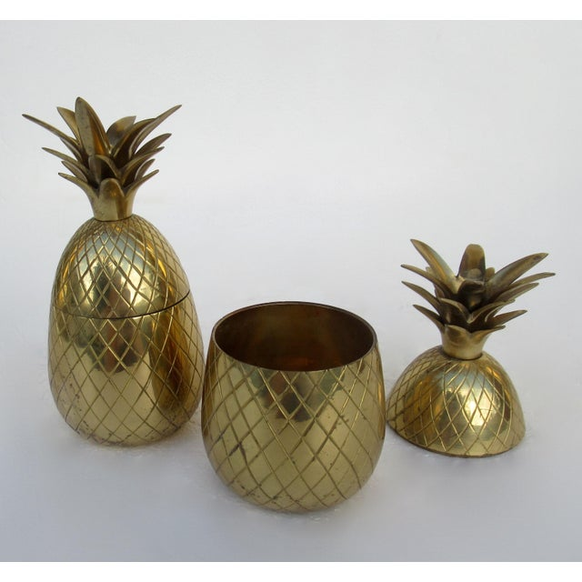 Vintage Brass Lidded Pineapple Containers Dual Candle Holders - a Pair For Sale In West Palm - Image 6 of 12