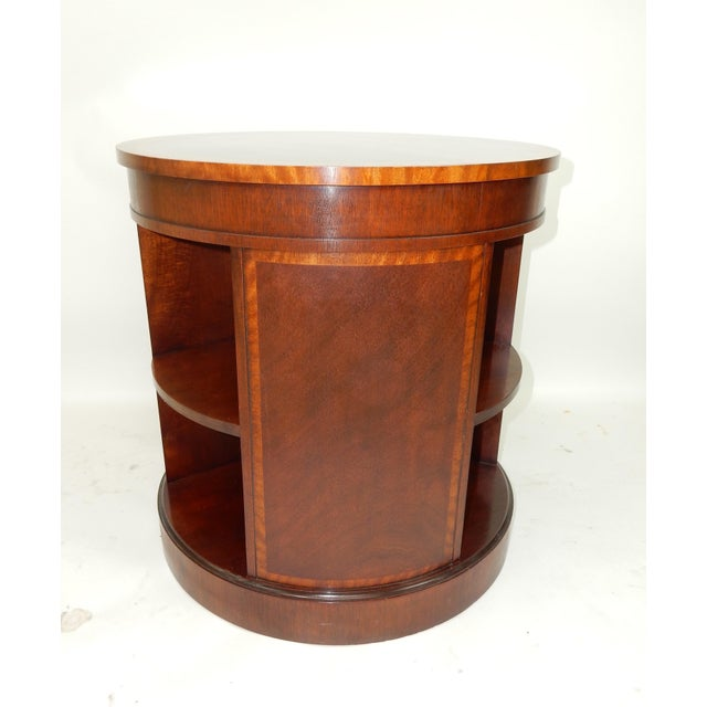 Brown Baker Furniture Inlaid Banded Mahogany Drum Shaped Book Case For Sale - Image 8 of 13