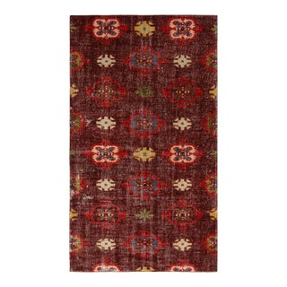 1950s Vintage Mid Century Purple and Red Geometric Wool Rug For Sale