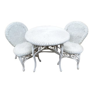 Late 20th Century Vintage Ornate Wicker Table and Two Matching Chairs- 3 Pieces For Sale