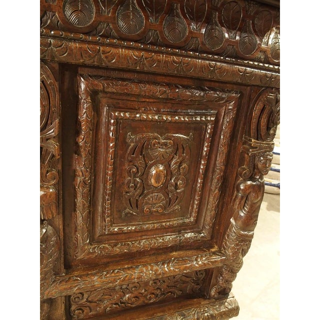 Brown French Walnut Wood Renaissance Buffet For Sale - Image 8 of 11