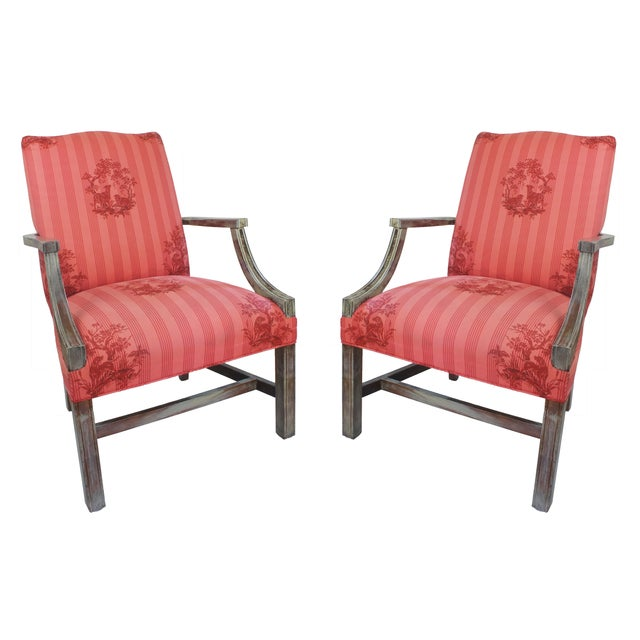 Federal Lolling Style Pink Chairs - A Pair - Image 1 of 5