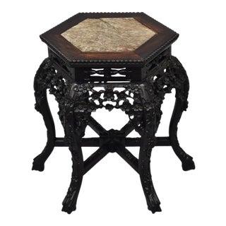 Antique Carved Hardwood Marble Top Pedestal Side Table