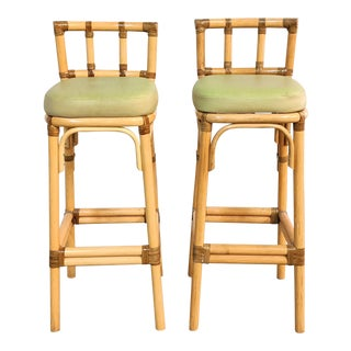 1960s Vintage Rattan Bar Stools- A Pair For Sale