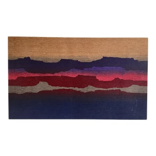 Vintage Mid-Century 'Desert at Dawn' Original Handwoven Fabric Painting