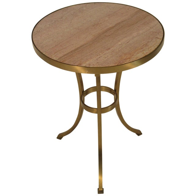 Solid Brass Gueridon Drink Table With Marble Top For Sale