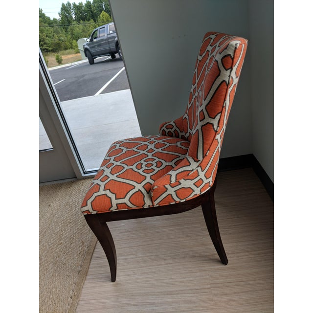 We adore this pair of Elise dining chairs upholsered in CR Laine orange lattice fabric. We used them in our Fall 2017 High...