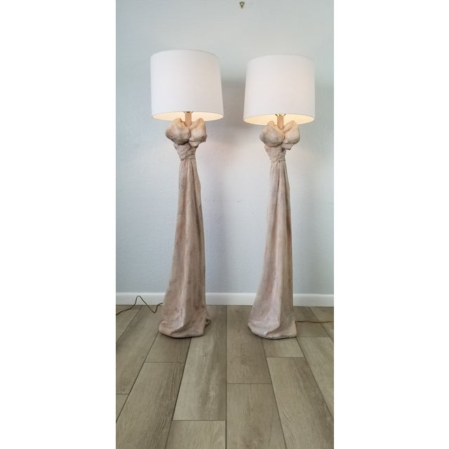 John Dickinson Style Sculptural Draped Plaster Floor Lamps - a Pair For Sale - Image 13 of 13