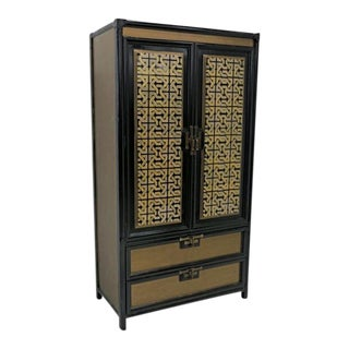Mid-Century Gold Black Laquer Armoire Wardrobe For Sale
