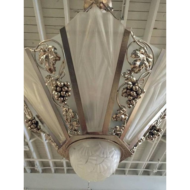 Degue Signed French Art Deco Geometric Chandelier - Image 2 of 9