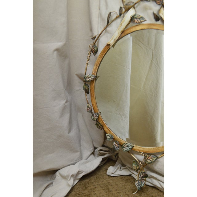 LaBarge Italian Floral Hand Painted Tole Metal Beveled Wall Mirror For Sale In Philadelphia - Image 6 of 13