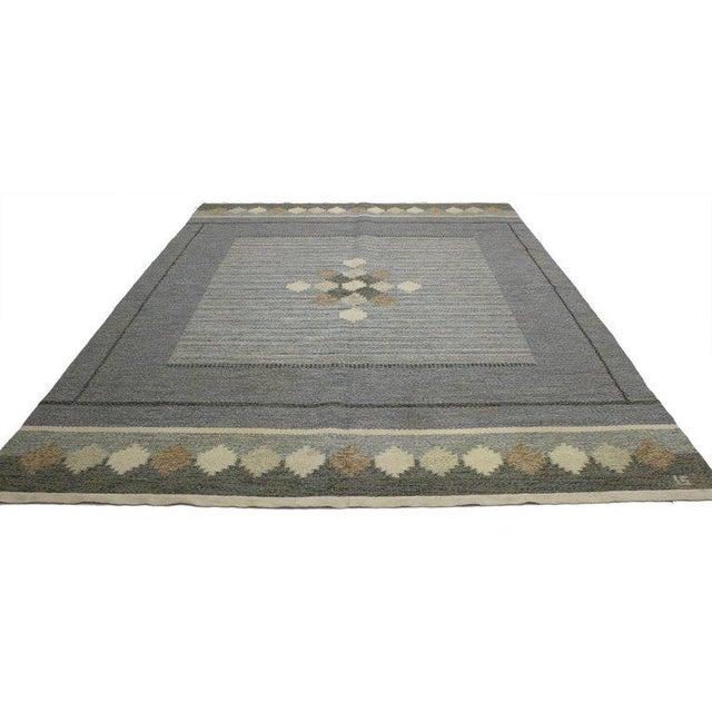 Vintage Swedish Kilim rug with Scandinavian Modern style by Ingegerd Silow, Swedish Rollakan flat-weave Kilim rug....