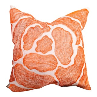 Modernist Abstract Orange Pillow For Sale