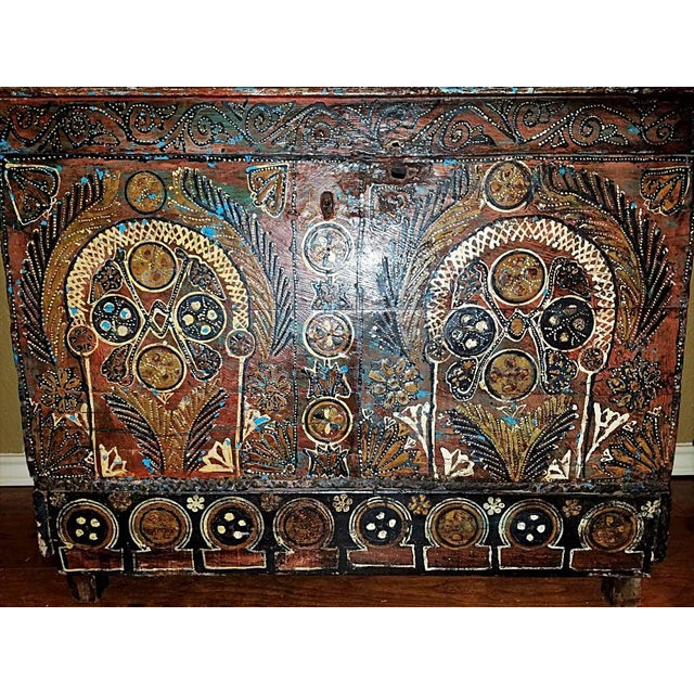 Black 18c Scandinavian Hand Painted Pine Chest For Sale - Image 8 of 11
