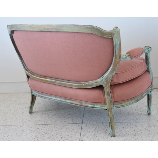 Turquoise Rose Linen Upholstered Turquoise and Gold Gilt Accented Settee Loveseat For Sale - Image 8 of 13