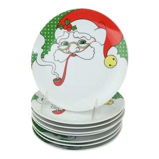 Fitz & Floyd Mod Santa Hors D'oeuvre Plates, Set 8 For Sale