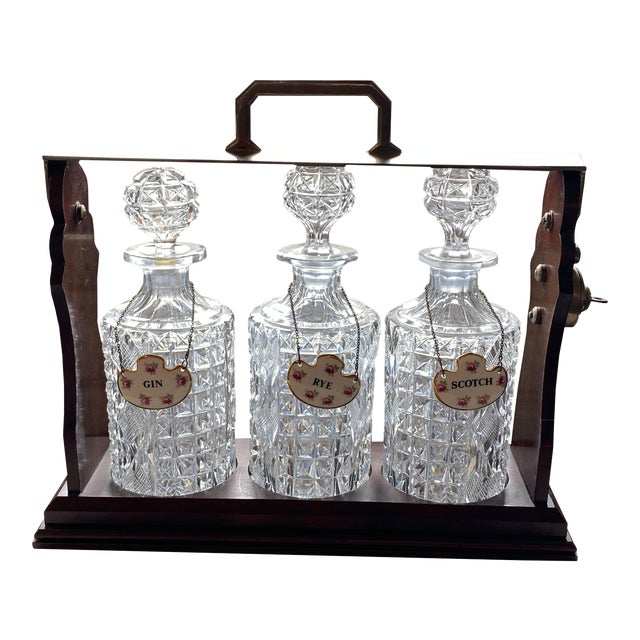 Tantalus With Three Bottles and Key For Sale